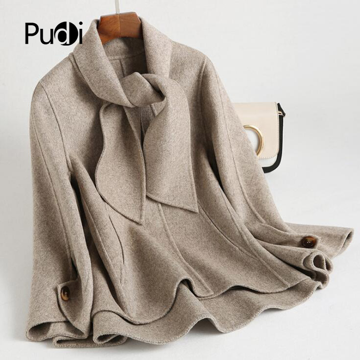 PUDI RO18047 2020 Women Fall Winter new fashion wool with scarf jacket with pocket lady long style pocket leisure coat
