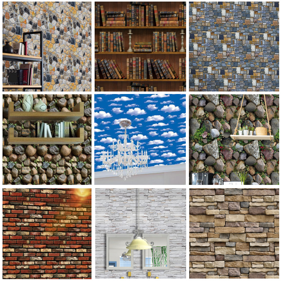 PVC Waterproof Self Adhesive Wallpaper Roll 3D Wood Grain Stone Brick Wallpapers For Living Room Bedroom Wall Papers Home Decor