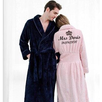 Customize Nama Date Women Men Warm Dobby Coral Fleece Bathrobe Winter Thick Flannel Thermal Kimono Dressing Gown Bride Peignoir - discount item  35% OFF Women's Sleep & Lounge