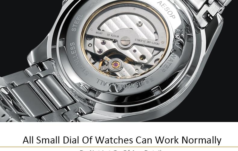 relógio de pulso automático mecânico masculino à