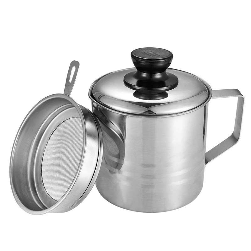 Oil Strainer Pot / Grease Can, 1.5 Quart Stainless Steel Oil Storage Can Container With Fine Mesh Strainer, Suitable For Storing image