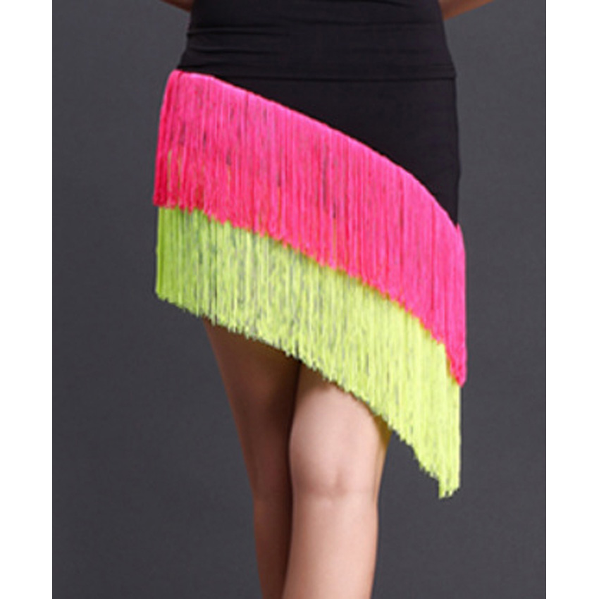 Women Latin Dancing Tassel Skirt Ballroom Jazz Chacha Tango Ballroom Dancewear Girls Elegant Stage Wear Performance