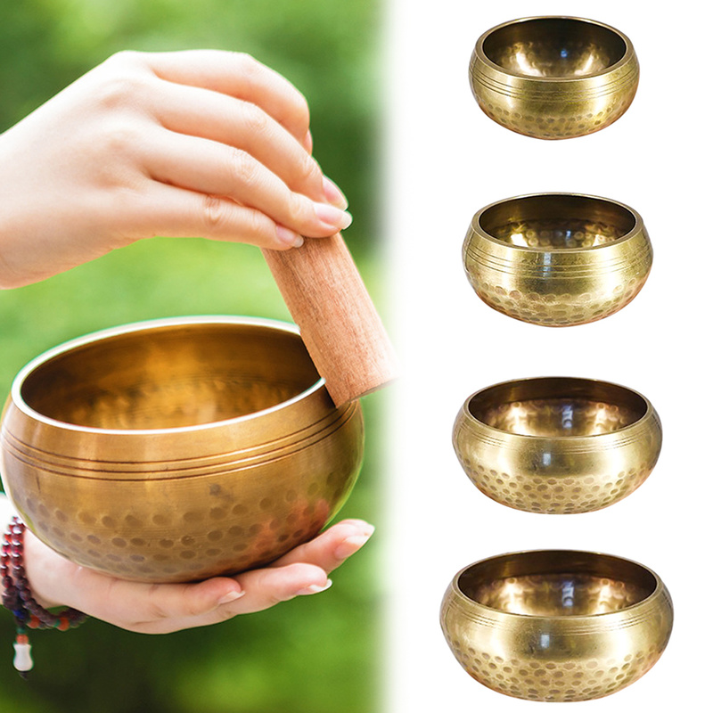 Tibetan Singing Bowl Meditation Gong Zen Yoga Bowl Set With Wooden Striker Home Decorative Sacrifice Dharma Monks Lama Nepal