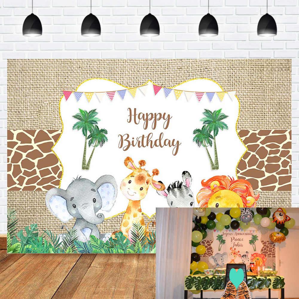 Animali Della Giungla di Buon Compleanno Sfondo per La Fotografia Elefante Leone Foto Background Bambino Festa di Compleanno Sfondo Photocall