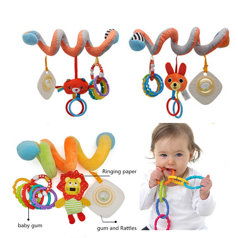 Spiral Kids Toys Plush Animal For Stroller Bed Car Seat Educational Hanging Baby Toys 0-12 Months Rattles Mobile Arc On The Bed