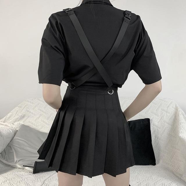 Gothic Skirt in black with grunge strap