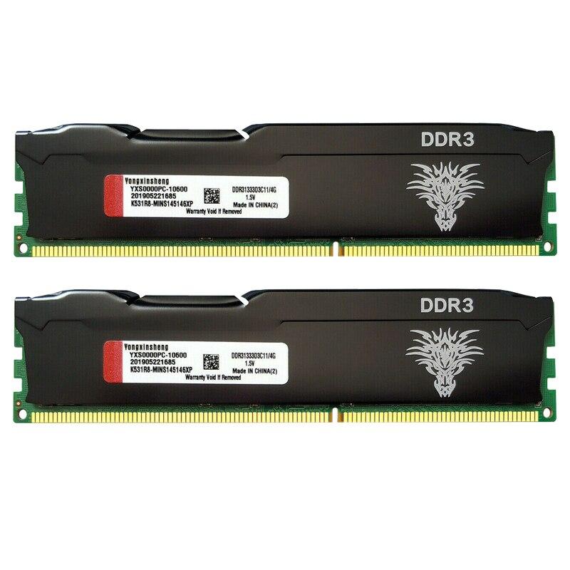 DDR3 RAM 4GB 8GB 1333MHz 1600MHz masaüstü bellek PC3-10600 PC3-12800 240-Pin ECC olmayan DIMM soğutma yeleği siyah