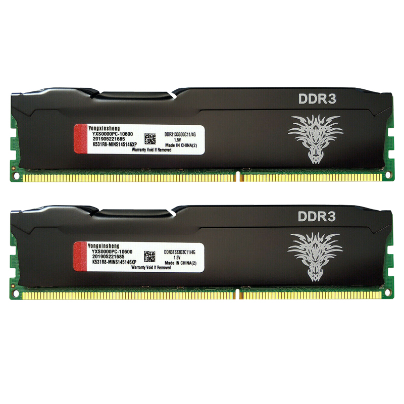 DDR3 Ram 4Gb 8Gb 1333Mhz 1600Mhz Desktop Geheugen PC3-10600 PC3-12800 240-Pin Non-Ecc gebufferde Dimm Cooling Vest Zwart