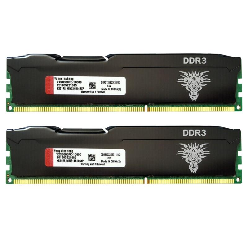Ddr3 ram 4gb 8gb 1333mhz 1600mhz memória de área de trabalho PC3-10600 PC3-12800 240 pinos não-ecc unbuffered dimm colete de refrigeração preto