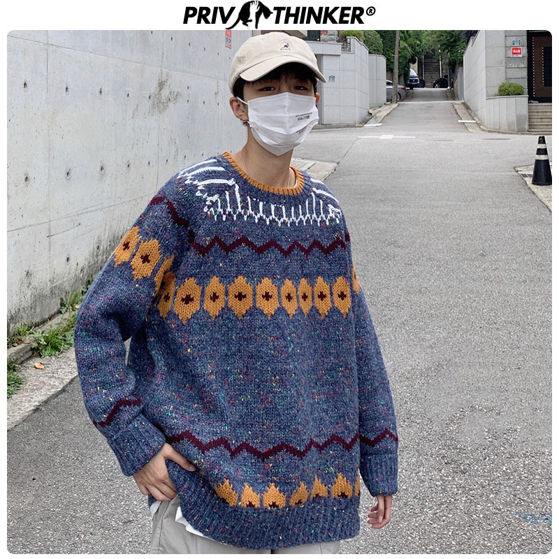 Privathinker Men O-Neck Vintage Hip Hop Sweaters Mens 2019 Autumn Winter Korean Pullovers Loose Male Harajuku Sweater Fashions
