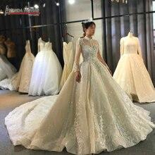 Długie rękawy wysokiej jakości ciężkie frezowanie suknia ślubna 100% prawdziwa praca sama jak na zdjęciu