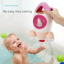 Детские купальные игрушки, милые ракета, спрей для воды, вращающийся спрей для воды для детей, не требуется батарея, крабы для купания, игрушки для детей