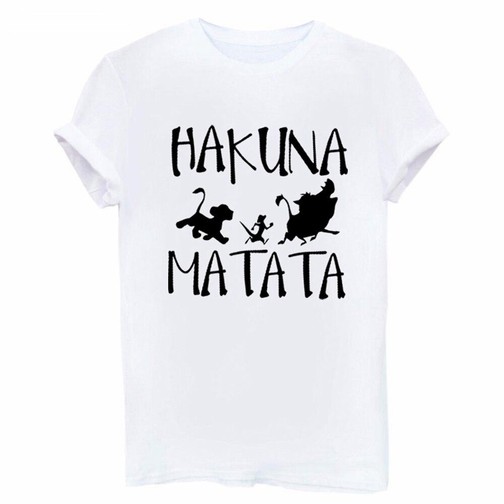 Showtly Hakuna Matata Letter Print Tee Shirt Homme Summer Women Short Sleeve T Shirt Plus Size Women Casual Top