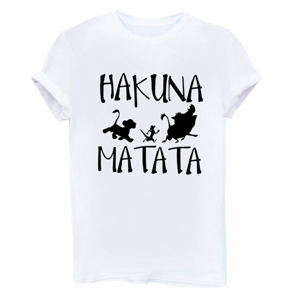 Showtly <font><b>Hakuna</b></font> <font><b>Matata</b></font> Letter Print Tee Shirt Homme Summer Women Short Sleeve T Shirt Plus Size Women Casual Top image