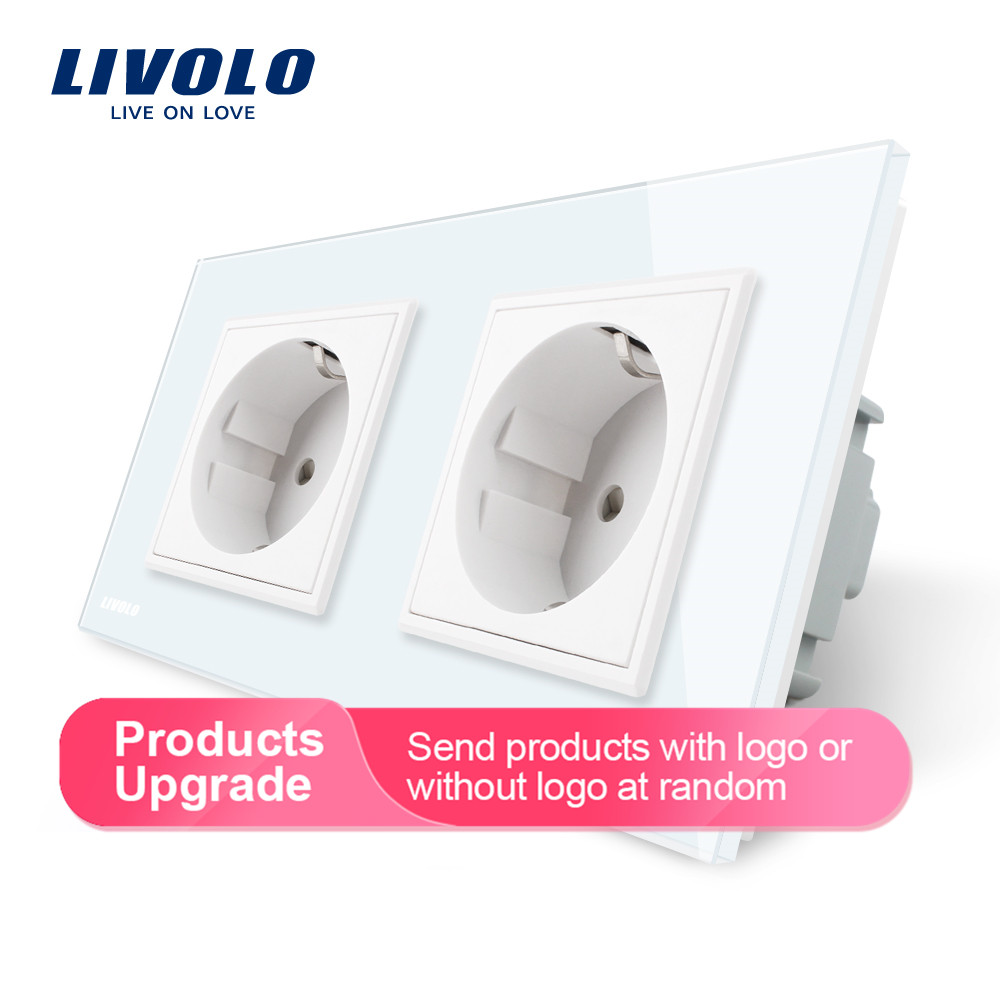 Livolo EU Standard Wall Power Socket, 4colors Crystal Glass Panel, Manufacturer of 16A Wall Outlet, C7C2EU-11/12/13/15