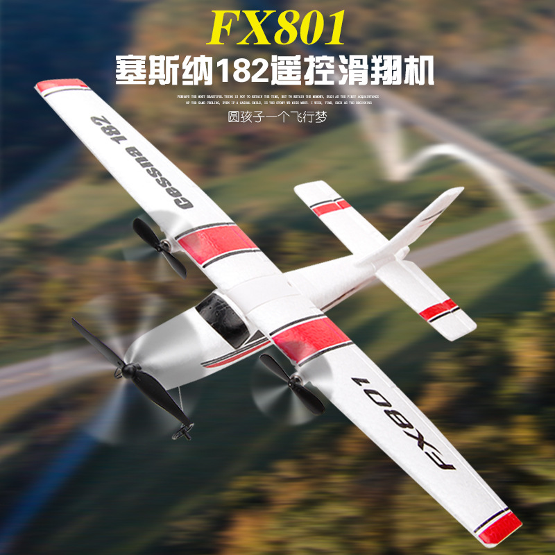 Fx801 Remote Control Glider Airplane Cessna 182 Drop-resistant Fixed-Wing Glider Assembled Children Airplane Model Toy