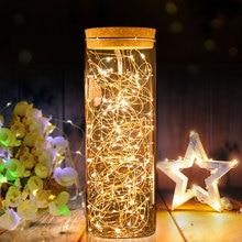 Светодиодный светильник на батарейках с цепочкой s 10 м, 5 м, 4M, 2 м, светильник в виде бутылки из медной проволоки, сказочный светильник, Рождественская гирлянда, украшение для свадебной вечеринки