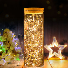 Battery LED String Lights Chain 10M 5M 4M 2M Copper Wire Bottle Light Fairy Lights Christmas Garland Wedding Party Decoration cheap MeeToo Dry Battery Silver Copper Wire LED String Light Colorful None Beads 2M(20LED) 4M(40LED) 5M(50LED) 10M(100LED) 3*AA Battery(Not included) 2*CR2025 Battery(Not included) DC12V