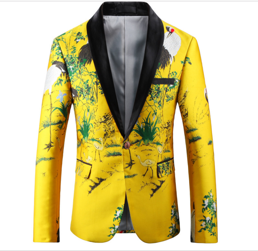 Yellow Suit Jacket Luxury Men Print Blazer Slim Fit Floral Stage Clothing Blazer Pattern Stylish Party Wedding Jacket