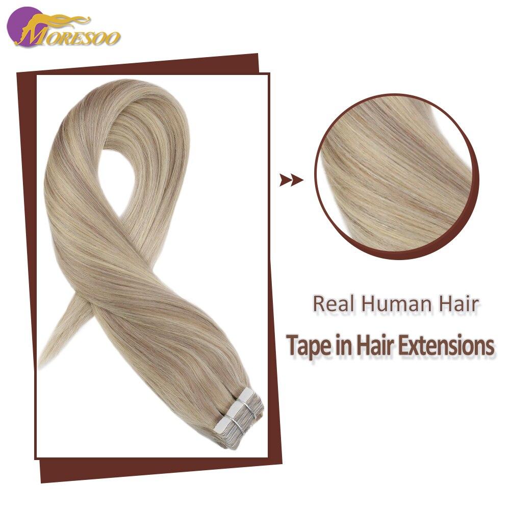 Cinta de pelo humano Moresoo en extensiones de rubio ceniza destello Rubio máquina de 12-24 pulgadas Remy 100% cabello humano Real