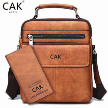 цены CAK Men's Bags Famous Brand Leather Handbag For iPad Man Fashion Casual Business Messenger Shoulder Bag Male New Large Capacity