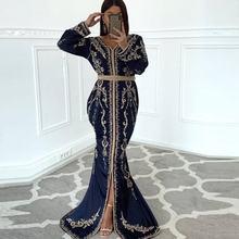 Темно синий марокканский кафтан Дубай вечерние платья Золотые