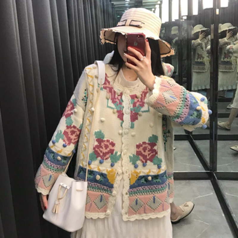 Knitted Sweater Women Cardigan Befree Harajuku Flower Pull Femme Hiver Leisure Time Coat Truien Dames Autumn Streetwear Korean