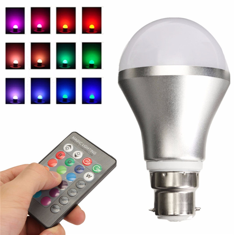 1 Set Adjustable LED Light Bulb B22 Bayonet RGB Color Changing With IR Remote Controller For Home Support Dropshipping