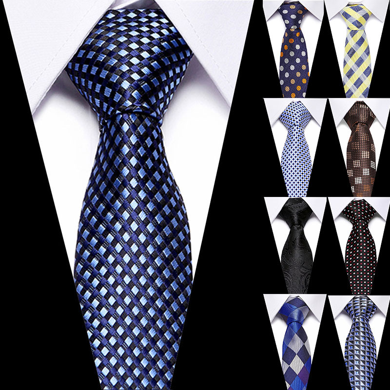 Classic 100% Silk Men's Ties 7.5cm Plaid Ties for Men Formal Business Luxury Wedding Party Neckties