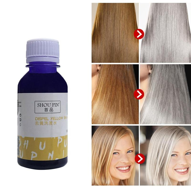 Hair Shampoo Remove Yellow Purple Toner To Silver Blonde Bleached Gray Hair Dye Remove Yellow 100ml image