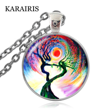 KARAIRIS New Tree Life Art Pendant Statement Necklace Photo of Glass Cabochon Balance Meditation Choker Necklace for Women Gifts new arrive sliver chain necklace michael jackson glass pendant statement cabochon necklace men women jewelry gifts