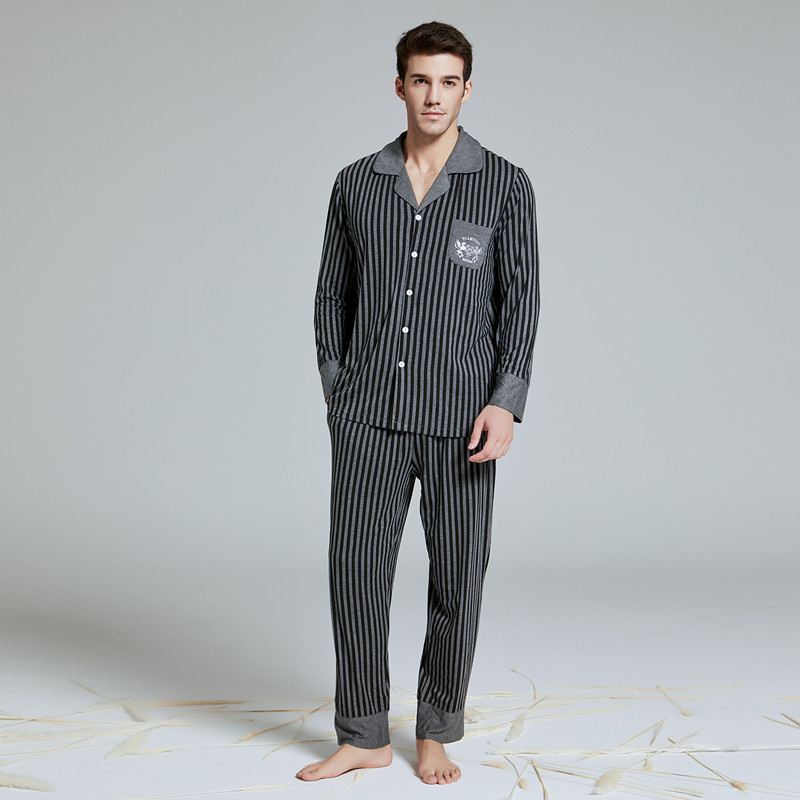 2019 New  Men's Pajamas Set With Long Pant Modal Cotton Men's Suit Botton-down Sleepwear Loungewear Nightshirt