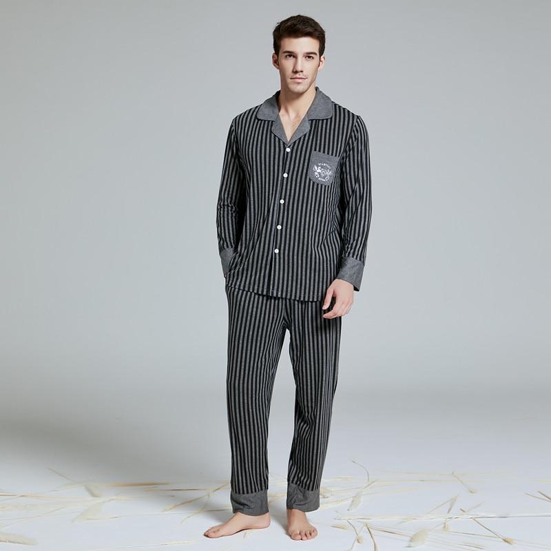 2019 New  Men's Pajamas Set With Long Pant Modal Cotton Men's Suit Botton-down Sleepwear Loungewear Nightshirt