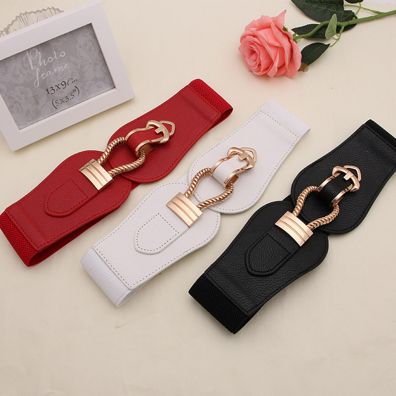 Women Ladies Girls Fashion Wide Waistbands Big Buckle PU Leather Cummerbunds For Dress Sweater Stretchy Belts Elastic Waist Belt