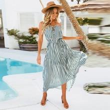 купить 2019 New Autumn Spaghetti Strap Sleeveless Bare Shoulder Printed Stripes Sling Bohemian Holiday Chiffon Dress Lacing Long Sexy дешево