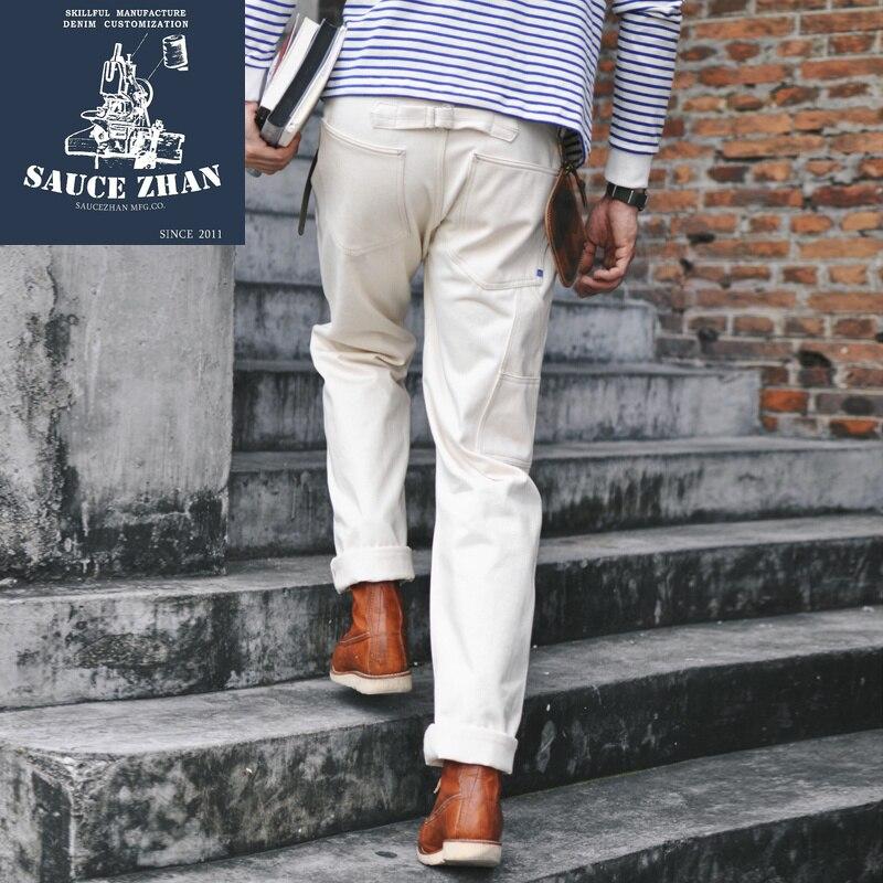 SauceZhan Sz6601-w White Denim Jeans Men's Jeans Selvedge Jeans Jeans Raw Denim Jeans Men Mens Jeans Brand 14.5 OZ