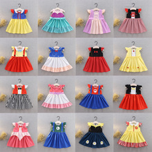 Disney Kids Dresses for Girls Princess Dress Christmas Party Children Clothing Birthday Bow Flower Cartoon Elegant Summer