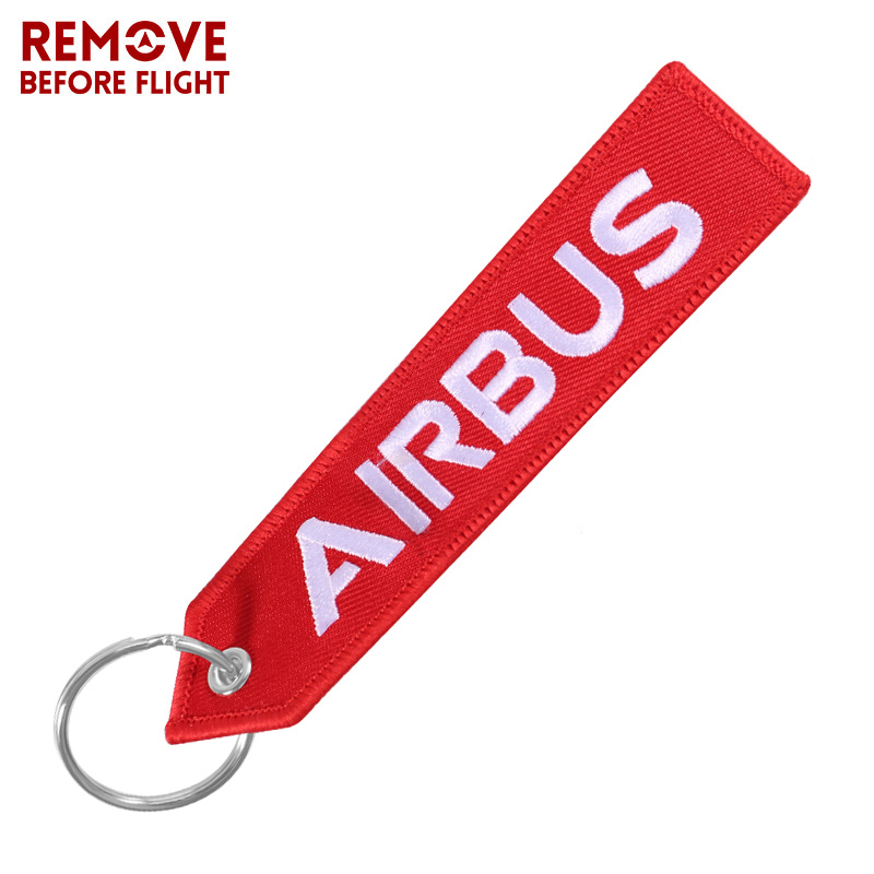 AIRBUS Red Keychain Double-sided Embroidery A320 Aviation Key Ring Chain For Aviation Gift Porte Clef Lanyard Keychains