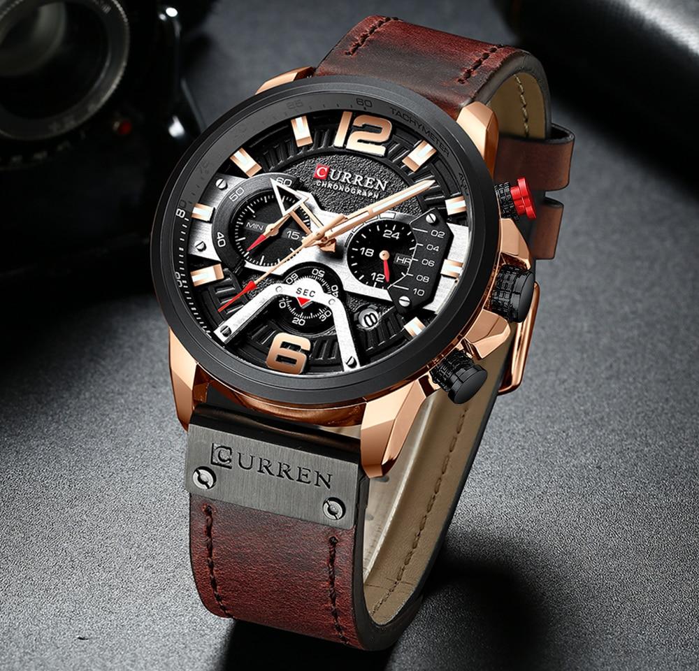 H0d907e3e8d2c441488e2fbafb20453bdZ CURREN Casual Sport Watches for Men Blue Top Brand Luxury Military Leather Wrist Watch Man Clock Fashion Chronograph Wristwatch
