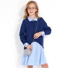 Girls Dress Blue 6 7 8 10 12 14 Age Year Kids Dresses for Girls School Preppy Style 2019 Casual Autumn Teen Teenager Dress цена в Москве и Питере