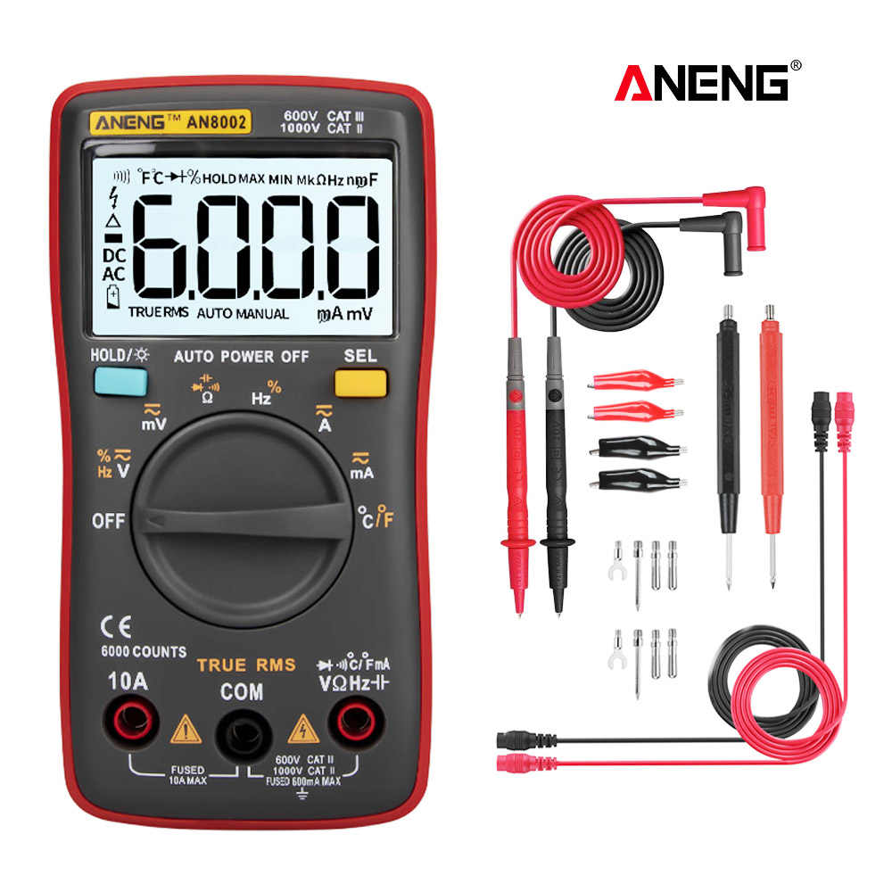 AN8002 Smart Digital Multimeter 6000 Hitungan Amp Multimetro Digital Profesional Transistor Kapasitor Tester LCR ESR Meter