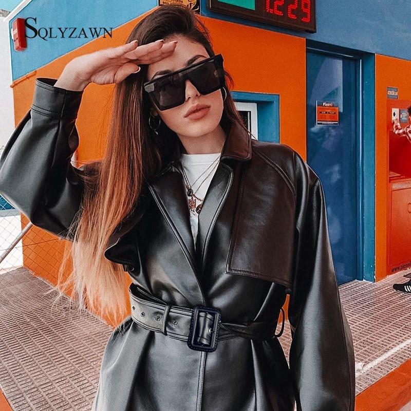Gothic Black Trench Coat Women Fall Streetwear Faux Leather PU Jacket With Bandage Belt Ladies Fashion Motorcycle Jacket Outwear