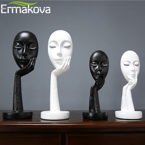 Image 5 - ERMAKOVA Nordic Abstract Thinker Thinking Lady Mask Figurine Resin Statue Office TV Cabinet Home Decoration Crafts