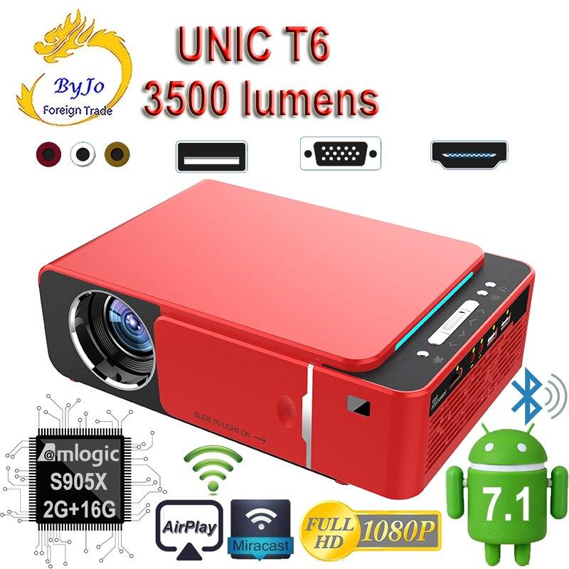 Original UNIC 2019 Neue T6 1280x720 LED Projektor 3500 lumen Keystone USB HDMI VGA AV Beamer Heimkino proyector