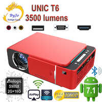 Original UNIC 2019 nuevo T6 1280x720 LED Proyector 3500 lúmenes Keystone USB HDMI VGA AV Beamer casa teatro Proyector