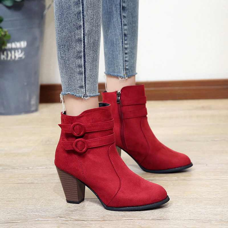 vertvie Women Autumn Boots Ankle Boots Shoes Slip On Pointed Toe Booties Mid Heel Side zipper Short Boots Party Drees Wedding