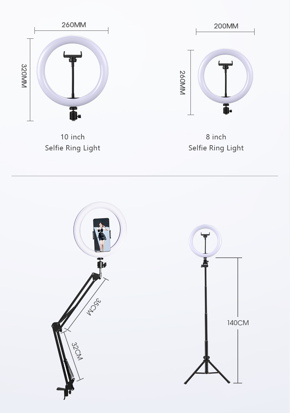 Selfie Ring Light Photography Led Rim Of Lamp With Mobile Holder Support Tripod Stand Ringlight For Live Video Streaming