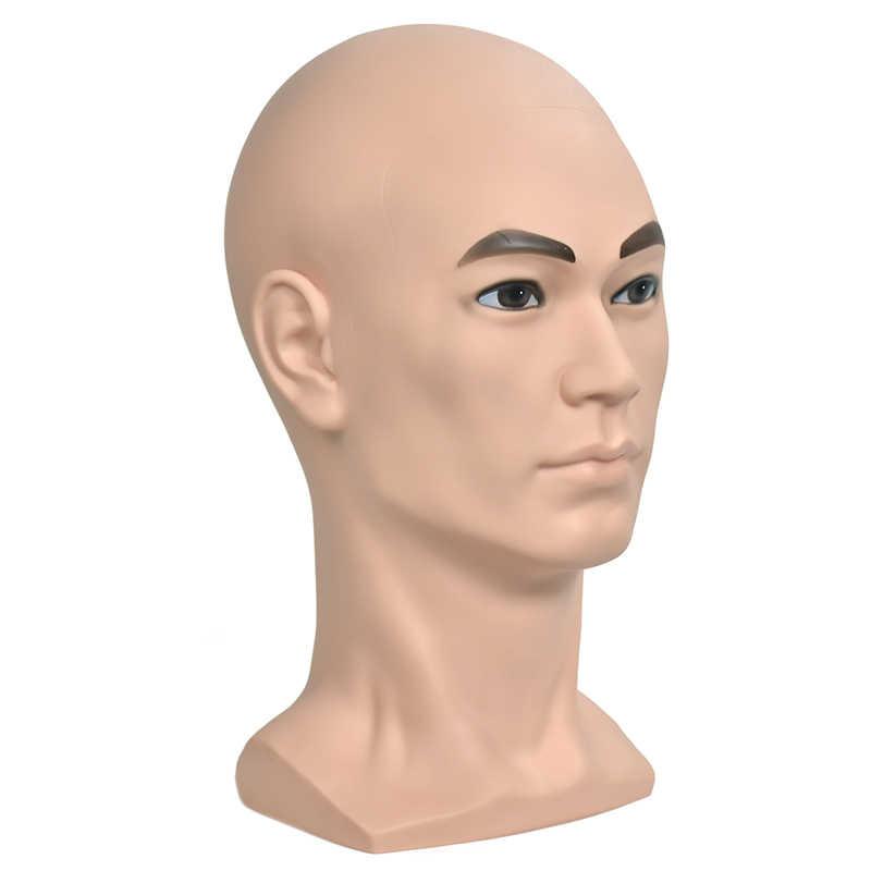 PVC mężczyzna manekin głowa peruka szkolenia głowy z ramię peruki głowy z stander Cap słuchawki stojak do ekspozycji okularów głowy