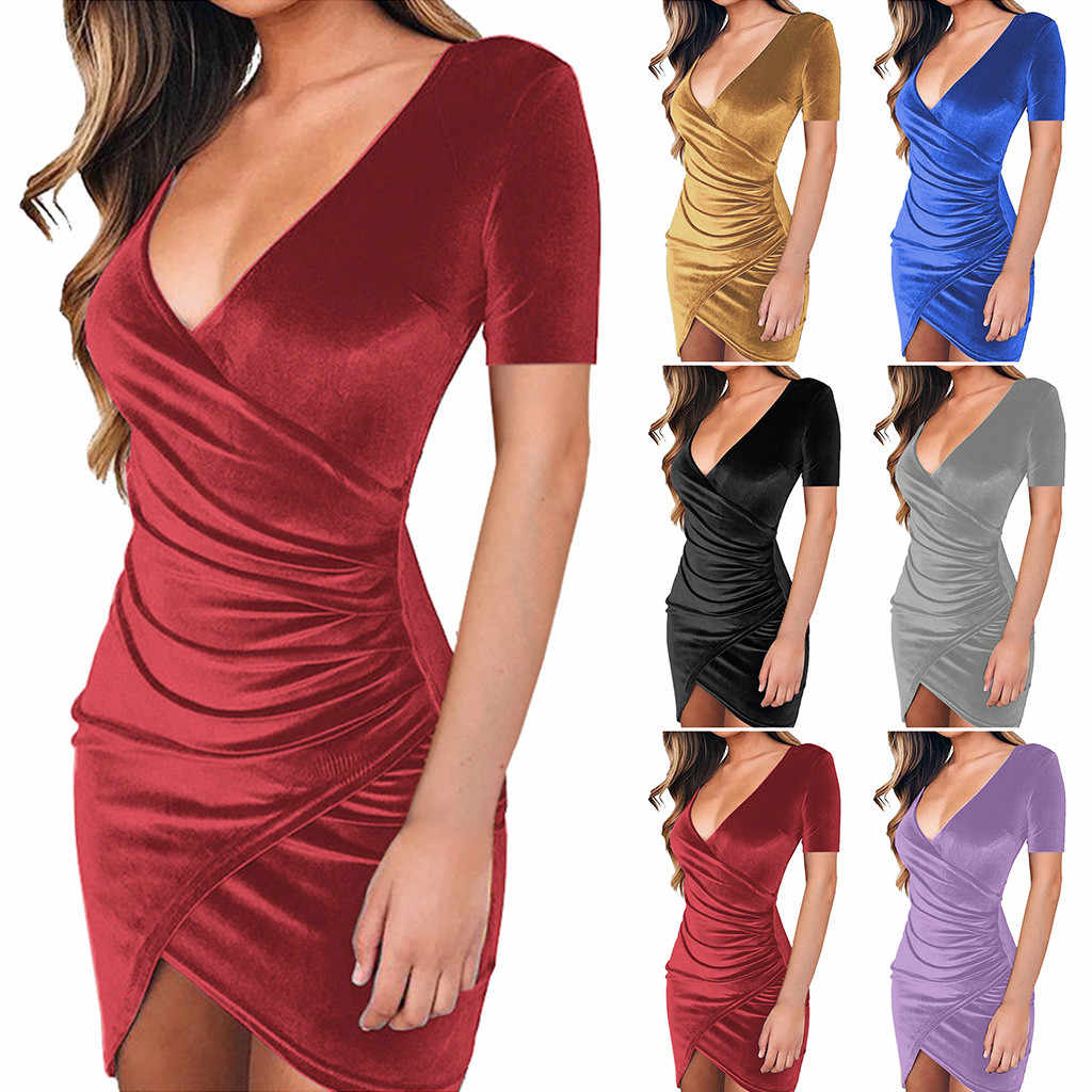 Women Sexy V Neck Wrap Front Ruched Asymmetrical Hemline Solid Sheath Lady Dress Sexy Bodycon Pencil Party Dresses jurk dames