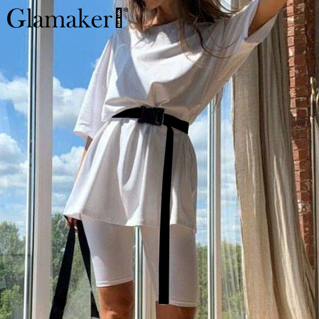 Glamaker Summer casual two piece set top and pants women sets short sleeve fashion loose outfits shorts suit 2020 female co ord 2